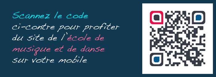 Scannez le code ci-contre pour profiter du site de l'école de musique et de danse sur votre mobile